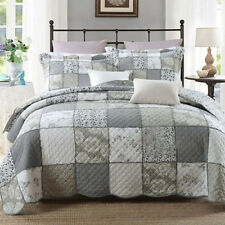 Vintage Cotton Grey Patchwork Bedspread Quilt Coverlet Throw Queen/King Size Bed