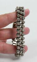 Vintage Rhinestone Silver Tone Accordion Stretch Bracelet