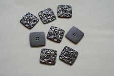8 Piezas 20mm Acero Gris Arrugado Efecto Metal Abrigos Cárdigan de Punto Botón