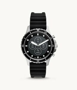 Fossil Men's HR FB-01 Stainless Steel Black Silicone Hybrid SmartWatch FTW7018