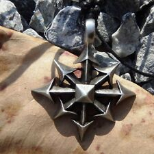 MAGIC CHAOS 8 STAR SILVER PEWTER PENDANT with Cotton Necklace #193