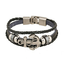 Cool Unisex Bracelet Men Leather Belt Boat Anchor Wristband Bangle Handmade gift