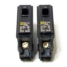 Lot of 2 New Square D Hom115 Single Pole 15A Homeline Circuit Breaker 120/240V