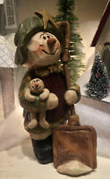 "Suzi Skoglund Snowman Star Shoveling Snow With Baby Christmas 6.5"" Resin"