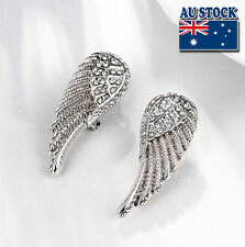 Elegant White Gold Filled Angel Wings CZ Earrings Women Biker Bling Jewelry
