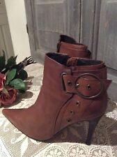 Chestnut Leather Ankle Boot~High Heel~Italian Designer Moda In Pelle~39 RRP £145