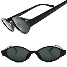 True Vintage 60s 70s Old Fashioned Black Womens Oval Lens Cat Eye Sunglasses