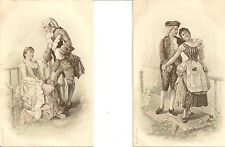 LOT DE 2 CARTES POSTALES FANTAISIE COUPLES HOMMES FEMMES SCENES DE SEDUCTION