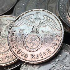 Rare WW2 German 5 Reichsmark Hindenburg Nazi Silver Coin Circulated Condition