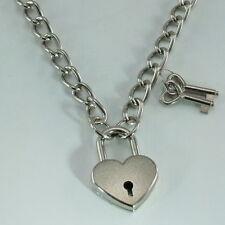 "Heart Padlock Lock Pendant Charm Choker Necklace (SILVER) Medium 19.5"" (New)"