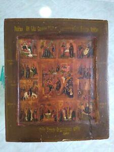 Antica Icona Russa Le 12 dodici Feste tempera all'uovo dipinto painting XVIII
