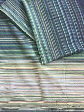 Next Double Duvet Cover & 2 Pillowcase Set Green Blue Yellow Striped Retro Style