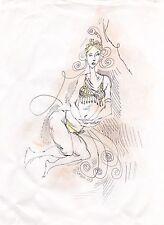 Original Miriam Slater Ink & Pastels Female Figure Tribal Belly Dancer Drawing
