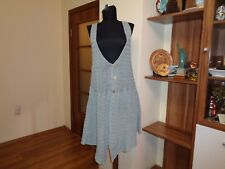 DEERBERG LIGHT TEAL CROCHET KNIT LINEN ASYMEMTRIC SLEEVELESS BUTTON TUNIC DRESS-