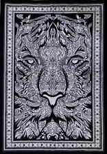 Black & White Lion Face Animal Wall Hanging Poster Dorm Decor Wild Tapestry ART