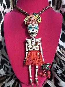 Betsey Johnson Vintage Rio HUGE Sugar Skeleton Dia De Los Muertos Long Necklace