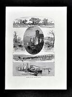1872 Picturesque America Print - Albany Scenes Views - Hudson River - New York