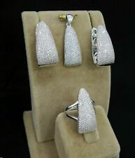 AAA Quality Sterling 925 Silver Handmade Jewelry MicroPave White Zircon Full Set