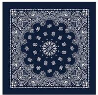 Navy Blue Extra Large 100% Cotton Bandana Scarf Western White Paisley 27 inch sq