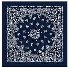 Navy Blue Extra Large 100% Cotton Bandana Scarf Western White Paisley 27 inch sq