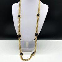 """Vintage Napier Gold Tone & Black Cabochon Chain Necklace 28"""" Long"""