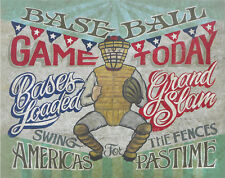 Vintage Baseball Game Sign art sporting decor ball game world series sports