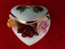 "Royal Albert Bone China  Old Country Roses  Flowers in trinket box 3 "" W 2""H"