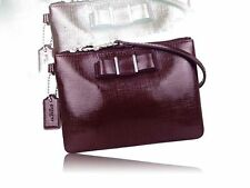 Coach Darcy Patent Leather Bow Small In Sherry F52137 Sherry- Burgundy Wristlet