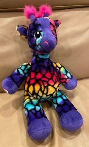 "Build-A-Bear Purple Multicolor Rainbow Giraffe Stuffed Plush Animal 19"""