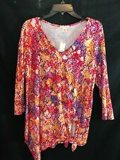 NWT Westbound Womens Size Large Rayon Top Tunic 3/4 Sleeves Shark-bite $39