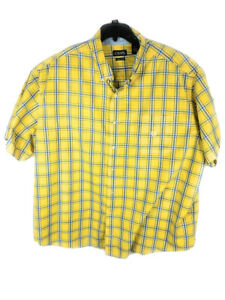 CHAPS Easy Care Men's Shirt  4XB/4TF Big & Tall Short Sleeve Yellow Checked A35