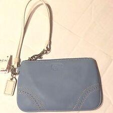NWT COACH SOHO Sm Sky Blue White Leather Wristlet F40575 $48