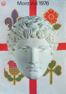 Original Vintage Poster Montreal Summer Olympics 1976 Roman Statue Head Sports