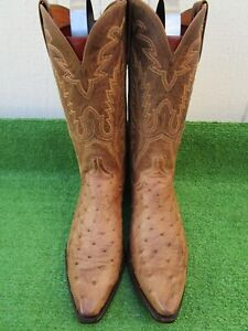 """VINTAGE LUCCHESE """"FULL QUILL OSTRICH"""" 1883 """"RARE"""" EXOTIC WESTERN COWBOY BOOT 10D"""