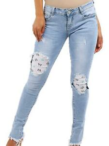 Girls Slim Fit Stretch Denim Blue Jeans Age 8 10 12 14 16 Years Knee rip Jean