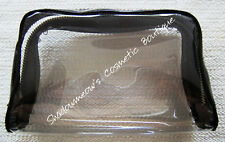 Laura Mercier Brown Patent & Clear Roomy Zippered Cosmetic Bag Free US Shipping