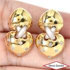 Estate Diamond 14K Gold Heart Dangle Earrings 9.7 Grams NR