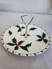 = Lefton's Vintage Holly Berry and Candy Cane Christmas Serving Tray 116N Japan