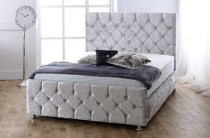 new Upholstered Crushed Velvet Fabric sky Bed Frame handmade in uk