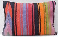 16''x24'' Rainbow Kilim Pillow Cover, Handmade Striped Turkish Kilim Pillow Case