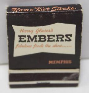Vintage 60s Matchbook Harry Glaser's Embers Flame Kist Steaks Memphis Restaurant