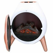 1.8KW Electric Fire Oval Shape Flame Effect Free Stand Fireplace Portable White