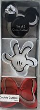 Disney Parks 3 Cookie Cutters Set Mickey Mouse Ears Minnie Bow Glove - NEW