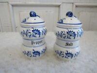 Vintage Danube White Blue Onion Floral Salt and Pepper Shaker Set