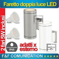 FARO FARETTO DOPPIO LED LUCE APPLIQUE ESTERNO IP55 LUCE GIARDINO 10W V-TAC GU10
