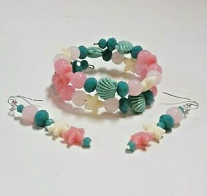 Handmade Bracelet With Earrings Seashore Resin Bead Seashell Starfish Glass