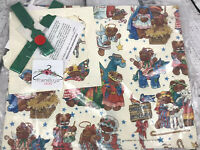 Vintage 1986 Welcome to Bethlehem Bears Christmas Gift Wrap Paper W/ Cards New