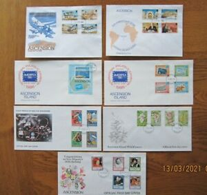 Ascension Islands, 7 First day covers, 1982 -1986,