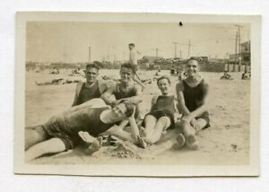 # 8 VINTAGE PHOTO AFFECTIONATE SWIMSUIT BUDDY BOYS MEN AT THE BEACH SNAPSHOT GAY