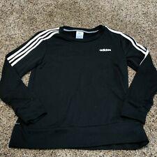 Adidas 3 White Stripe Pullover Sweatshirt Climalite Black Size Small Womens